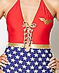 Lace Up One Piece Wonder Woman Swimsuit - DC Comics