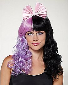 Black and Purple Bow Wig