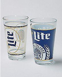 Miller Light Pint Glass 2 Pack - 16 oz.