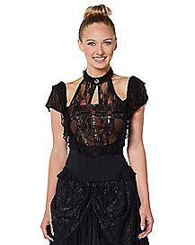 Black Lace Steampunk Shirt