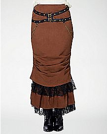 Lace Brown Steampunk  Skirt