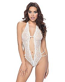 Lace Rhinestone Crotchless Teddy White