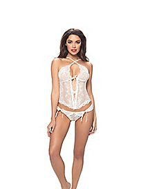 Lace Bustier and G-String Panties Set