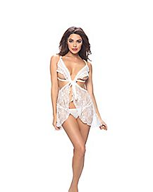 Lace Front Tie Babydoll and G-String Panties Set