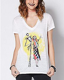 Watercolor Jack and Sally T Shirt - The Nightmare Before Christmas