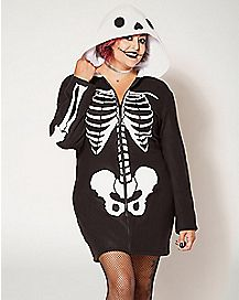 Skeleton Plus Size Hooded Dress