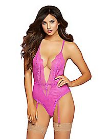 Pink Lace and Mesh Teddy