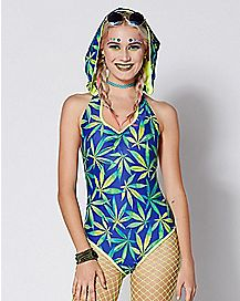 Weed Leaf Hooded Bodysuit