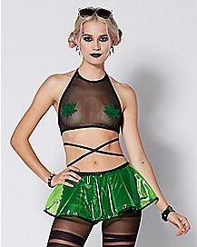 Pot Leaf Mesh Crop Top