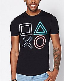 Neon Button Playstation T Shirt - Sony