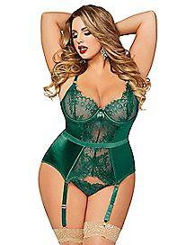 Plus Size Green Eyelash Lace Bustier and Thong Panties Set