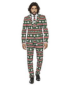 Adult Festive Green Ugly Christmas Suit
