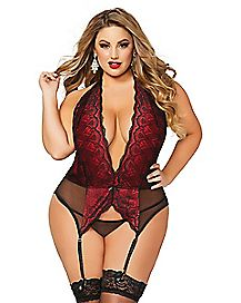 Plus Size Lace Chemise and Thong Panties Set