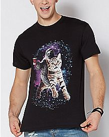 Galaxy Sloth Cat Rider T Shirt