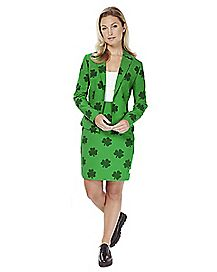 Adult Shamrock St. Patricks Day Skirt Suit