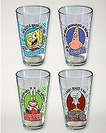 Spongebob Squarepants Pint Glasses 4 Pack 16 oz. - Nickelodeon