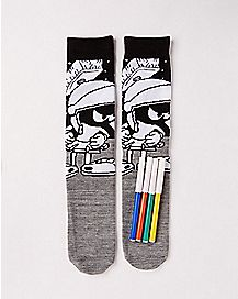 DIY Color Marvin The Martian Crew Socks - Looney Tunes