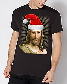Santa Hat Jesus Christmas T Shirt