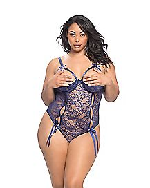 Plus Size Open Cup Crotchless Teddy