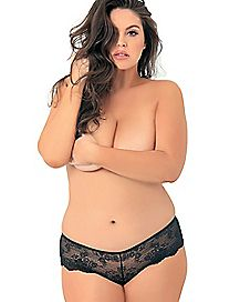 Plus Size Lace Crotchless Boyshort Panties