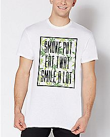 Smoke Pot Eat Twat Smile A Lot Plus Size T Shirt