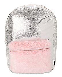 Faux Fur Shimmer Backpack