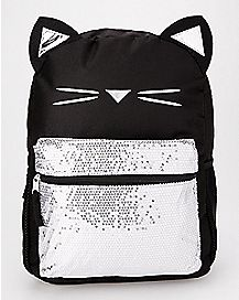 Silver Sequin Black Cat Backpack