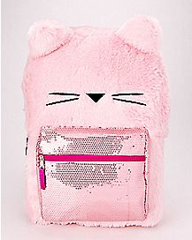 Pink Sequin Plush Cat Backpack
