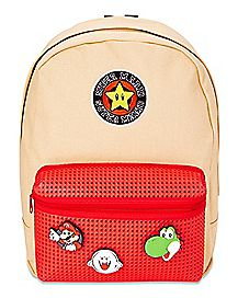 Mario Backpack With Removable Rubber Patches - Nintendo