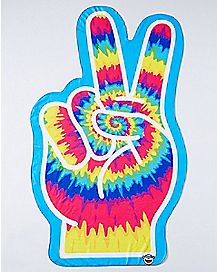 Tie Dye Peace Sign Beach Blanket