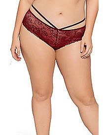 Strappy Lace Plus Size Boyshort Panties
