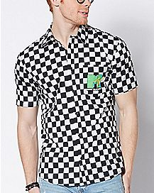 Checkered MTV Button Down Shirt