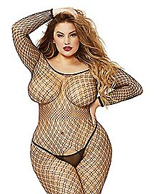 Off The Shoulder Fishnet Plus Size Crotchless Bodystocking
