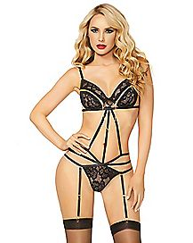 Black Lace and Zipper Teddy Set