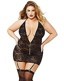 Plus Size Black Floral Lace Chemise Set