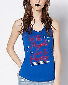 Blue We The People Love To Party Tank Top