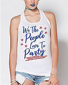 White We The People Love To Party Tank Top