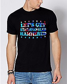 Tie Dye Let's Get Star Spangled Hammered T Shirt