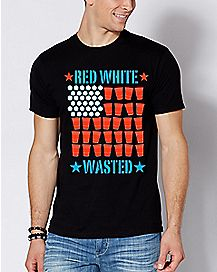 Beer Pong Flag Red White and Wasted T Shirt