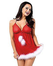 Santa Babydoll and G-String Panties Set