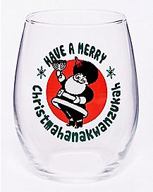 Merry Christmahanakwanzukah Stemless Wine Glass - 21 oz.