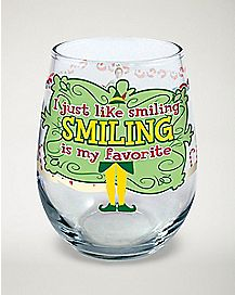 Smiling Is My Favorite Stemless Wine Glass 21 oz. - Elf