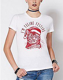 I'm Feline Festive Cat T Shirt