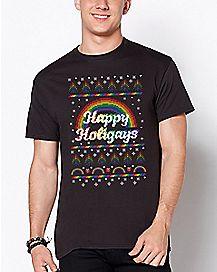 Rainbow Happy Holigays T Shirt
