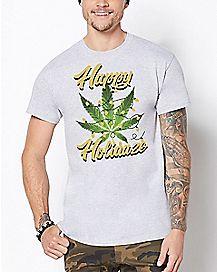 Happy Holidaze Weed Leaf T Shirt