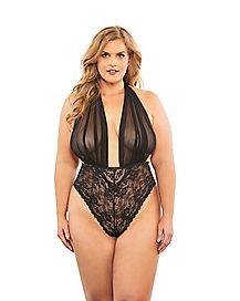 Plus Size Mesh Halter Lace Teddy- Black