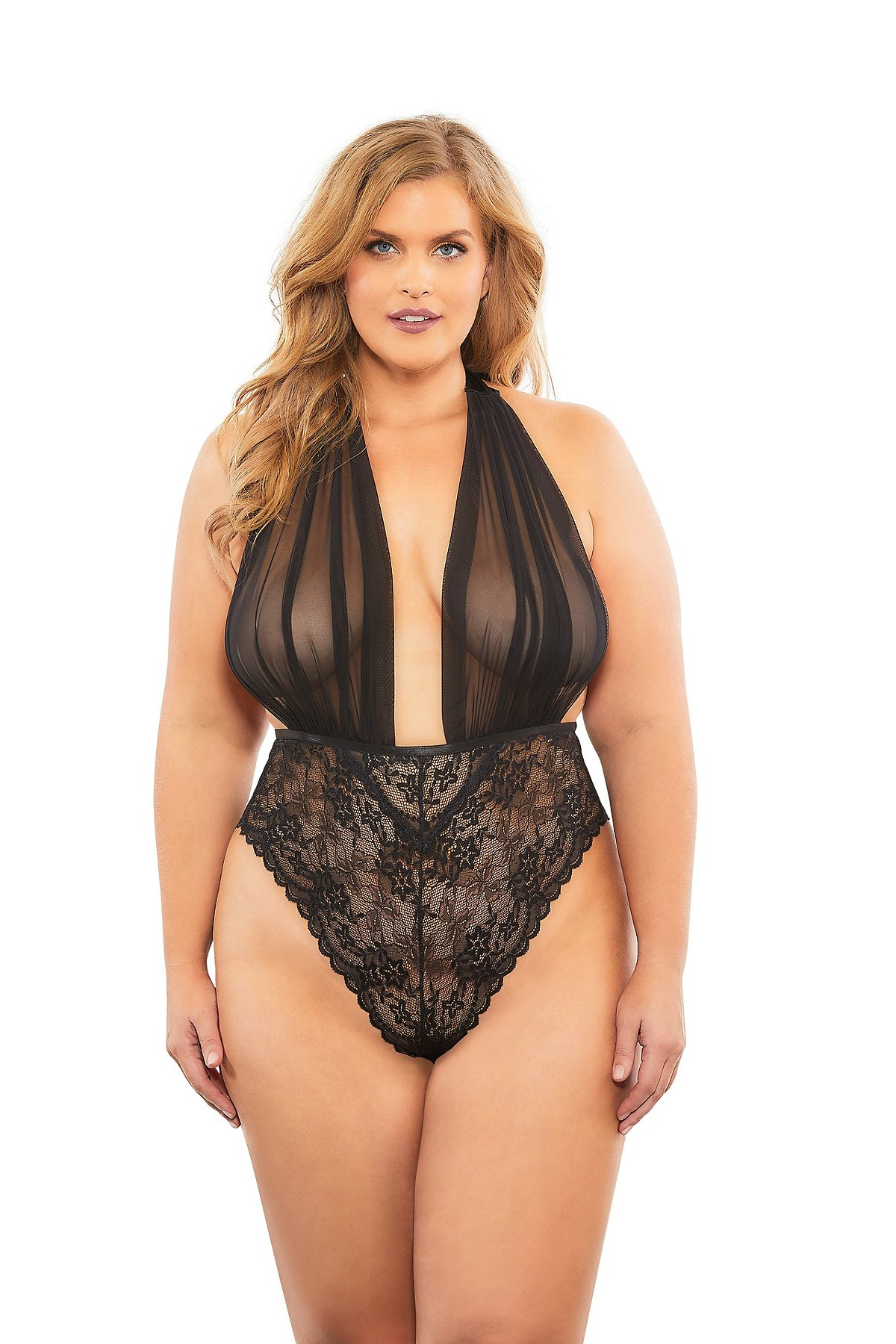 black plus size mesh halter lace teddy lingerie