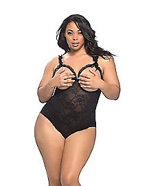 Plus Size Lace Open Cup Crotchless Teddy - Black