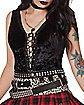 Black Velvet Lace-Up Front Bodysuit