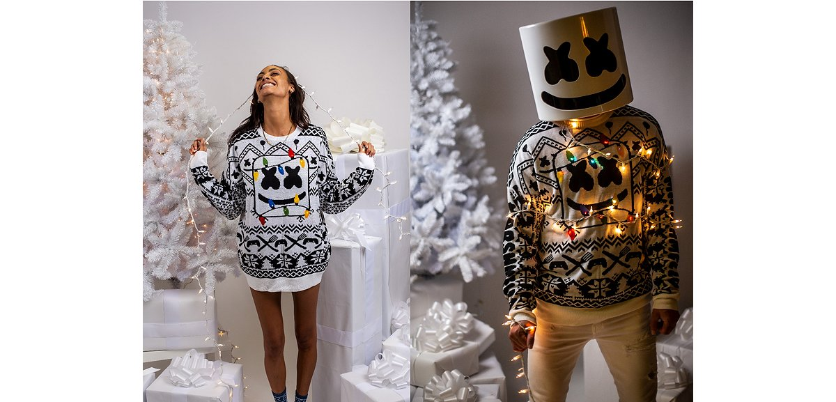 Light-Up Marshmello Ugly Christmas Sweater